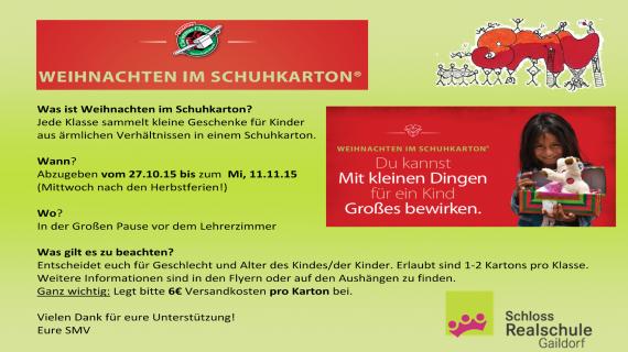 Wann Sind Weihnachten.2015 10 27 Weihnachten Im Schuhkarton 2015 Schloss Realschule