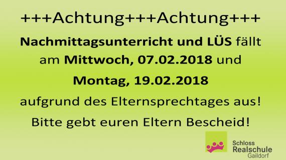 2018-02-07 - Elternsprechtag - Info - Entfall
