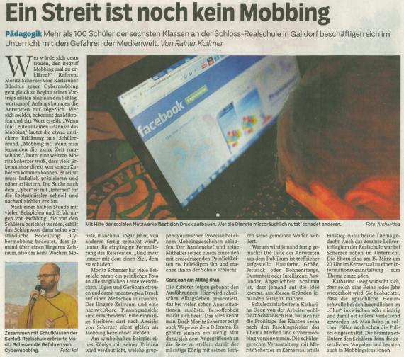 2019-02-25 - Cybermobbing - Zeitungsartikel