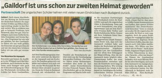 2019-10-16 - Ungarnaustausch - Zeitungsartikel