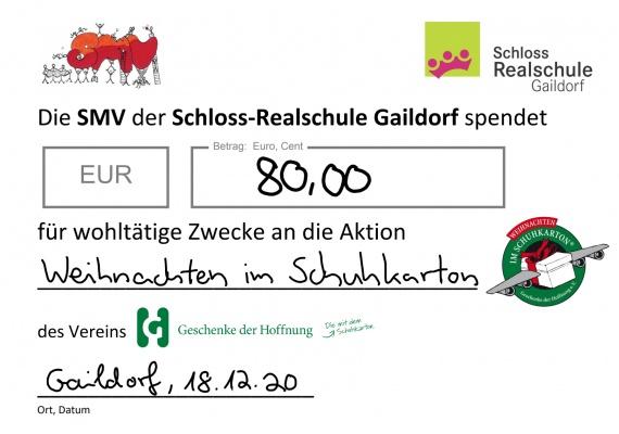 Spendenschein SMV SRG Weihnachten im Schuhkarton